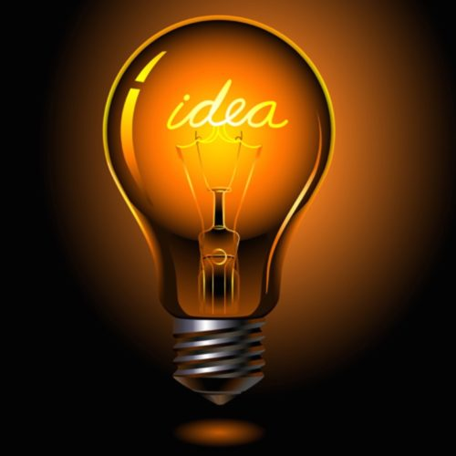 """A lightbulb with the word """"idea"""" spelled out inside it."""