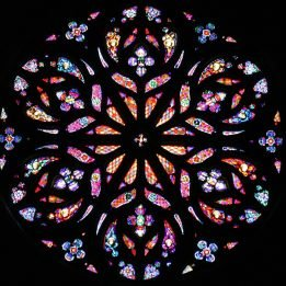 The cathedral's stunning rose window boasts many jewel tones and cherub faces.