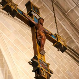 The main crucifix over the cathedral's altar.