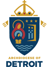 The official Archdiocese of Detroit coat of arms is depicted in lovely shades of dark blue, maroon, gold, and light blue.
